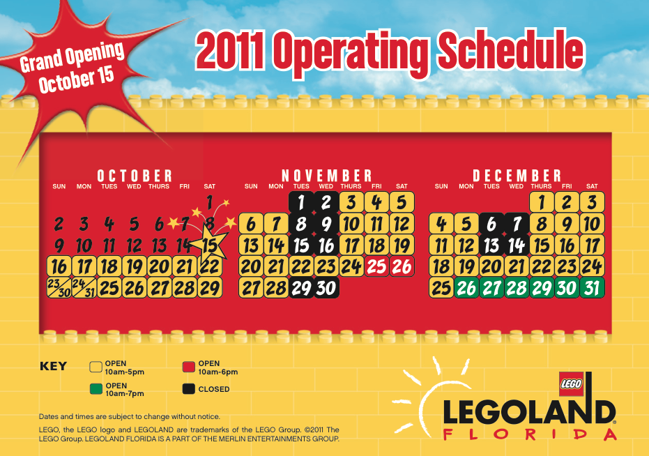LEGOLAND Florida Calander LEGOLAND Florida FREE Teachers Annual Pass, Field Trip Guide, and More Deals